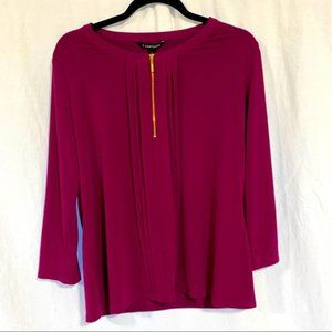 41 Hawthorn Fuschia Pleated Zippered Blouse Lg NWT